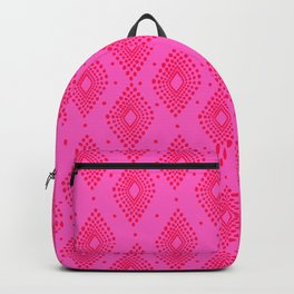 Mudcloth Dotty Diamonds in Neon Pink + Red Backpack