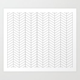 Herringbone - Black + White Art Print