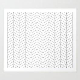 Herringbone - Black + White Art Print