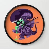 xenomorph Wall Clocks featuring Cute Xenomorph by nocturnallygeekyme