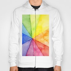 Rainbow Watercolor Geometric Pattern Hoody