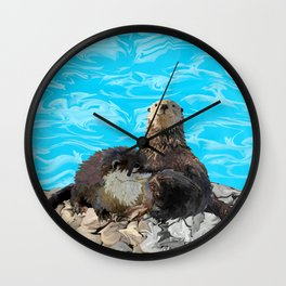 Where the River Meets the Sea Otters Wall Clock