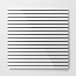 Horizontal Black Stripes Pattern Metal Print