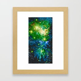 Fox Fur Nebula Teal Green Framed Art Print