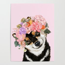 Black Shiba Inu with Flower Crown Pink Poster