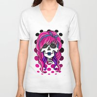 rockabilly V-neck T-shirts featuring 'Rockabilly skull' by NeonStarr
