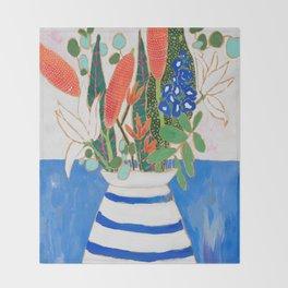 Nautical Striped Vase of Flowers Throw Blanket