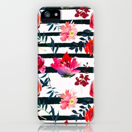 Black white pink floral watercolor stripes pattern iPhone Case