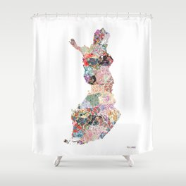 Finland map Shower Curtain
