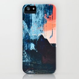 Delight: a vibrant abstract painting in blues and coral by Alyssa Hamilton Art iPhone Case
