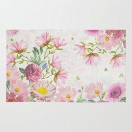 Pink Floral Sketch Rug