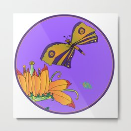 Butterfly and Fantasy flower Metal Print