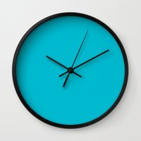 scuba Wall Clocks featuring Scuba Blue by Susan's  Shop