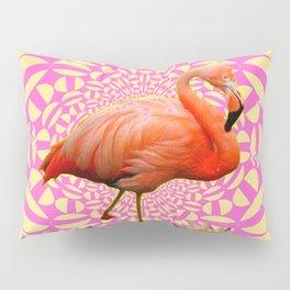 Pink & Cream Flamingo Water lilies Optical Art Pillow Sham