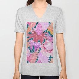 Ginger Flowers in Coral + Dark Teal Green Unisex V-Neck