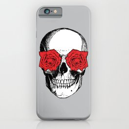 Skull and Roses | Skull and Flowers | Vintage Skull | Grey and Red | iPhone Case