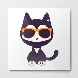 Cute kitten in sunglasses Metal Print