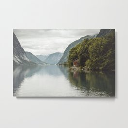 A cabin in the fjord Metal Print