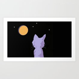 Thinking About U Under the Moon Art Print
