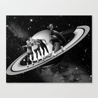 roller derby Canvas Prints featuring Roller Derby on Saturn by TRASH RIOT