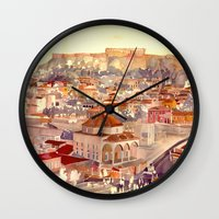 takmaj Wall Clocks featuring Athens by takmaj