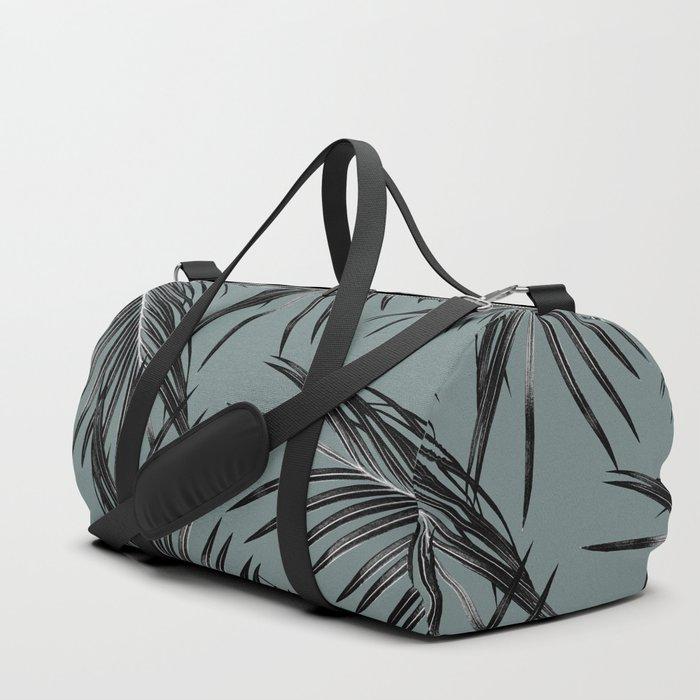 Black Palm Leaves Dream #4 #tropical #decor #art #society6 Duffle Bag