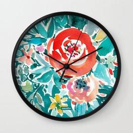 IN FLOW FLORAL Orange Watercolor Rose Wall Clock