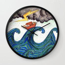 Noahs Ark on Stormy Sea Wall Clock
