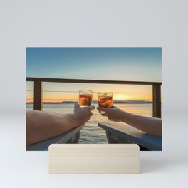 Sailing sunset couple toasting Mini Art Print