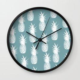 Pineapple Pattern - Blue Background Wall Clock