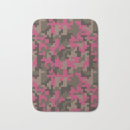 Pink and Brown Pixel Camo pattern Bath Mat