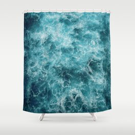 Blue Ocean Waves Shower Curtain