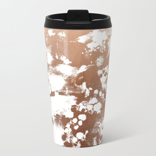 Rose Gold shiny metal sparkle modern pattern abstract rosegold trendy pattern cell phone accessories Metal Travel Mug