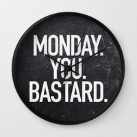 xbox Wall Clocks featuring Monday You Bastard by Text Guy