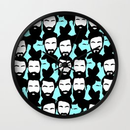 beards are sexy_blue Wall Clock