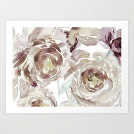 Earthy Painterly Floral Abstract Art Print