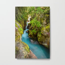 Avalanche Creek Glacier National Park Montana Waterfall Landscape Metal Print
