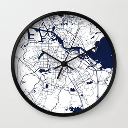 Amsterdam White on Navy Street Map Wall Clock