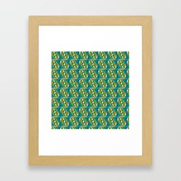 Retro Abstract Wave in Green & Blue + Contemporary Graphic Design Illustration by Limolida Framed Art Print