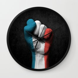 Flag of France on a Raised Clenched Fist Wall Clock