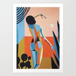 Sunrise. Woman and window Art Print
