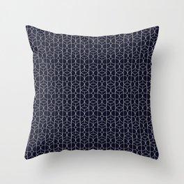 Mid Century Deco Line Floral Circle Print Black Throw Pillow