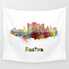 Boston skyline in watercolor Wall Tapestry