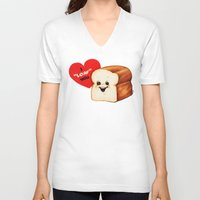 bread V-neck T-shirts featuring Valentine- Bread by Kelly Gilleran