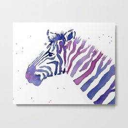 Zebra Watercolor Purple Stripes Animal Metal Print