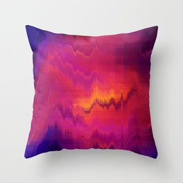 Pink Glitch abstract Throw Pillow