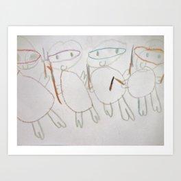 More Ninja Turtles thru a 5 year old Child Artist's eye Art Print