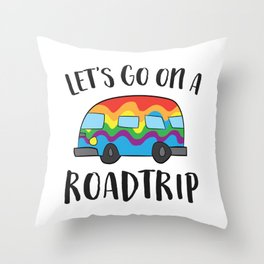 Camping Lets Go On A Roadtrip RV Camper Road Trip Camper Throw Pillow