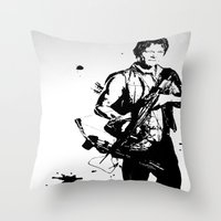 daryl dixon Throw Pillows featuring Daryl Dixon by Black And White Store