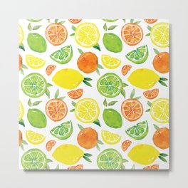 Citrus Pattern Metal Print
